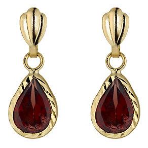 Gold Garnet Drop Earrings - Product number 3887707