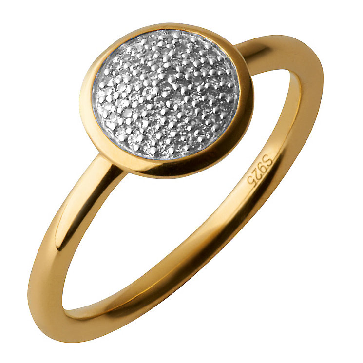 Links of London 18ct Gold Vermeil Diamond Round Pave Ring S - Product number 3888096