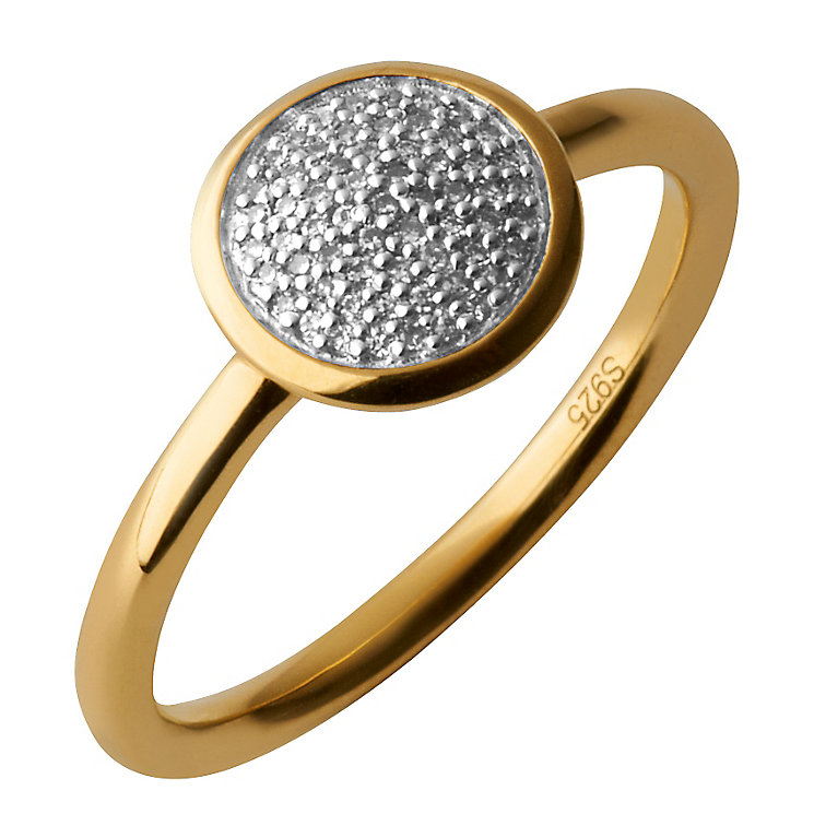 Links of London 18ct Gold Vermeil Diamond Round Pave Ring M - Product number 3888118