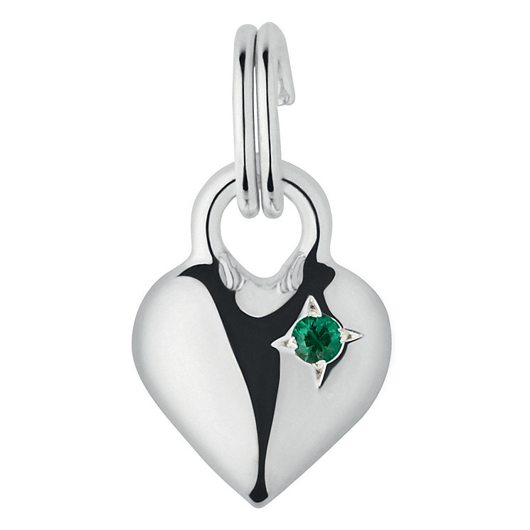 Links of London Sterling Silver Emerald Mini Heart Charm - Product number 3889718