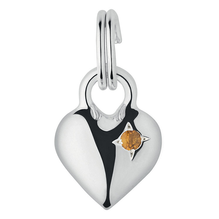 Links of London Sterling Silver Citrine Mini Heart Charm - Product number 3889793