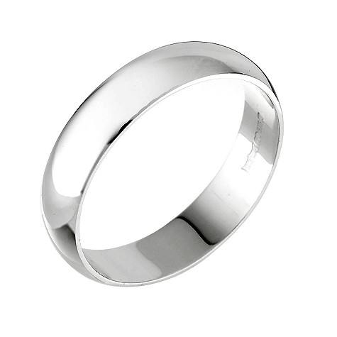 9ct white gold D shape extra heavy 5mm ring