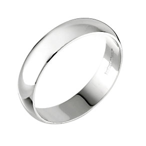 9ct white gold D shape extra heavy 5mm ring - Product number 3890015