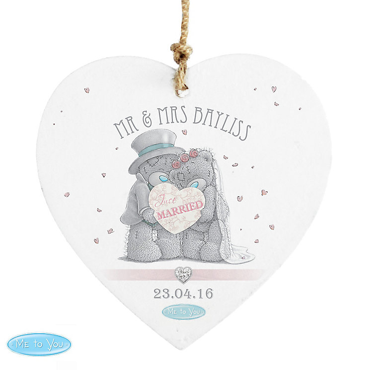 Personalised Me To You Wedding Wooden Heart Decoration - Product number 3890783