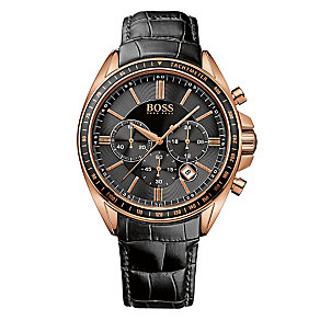 Hugo Boss Men's Rose Gold-plated Black Strap Watch - Product number 3891259