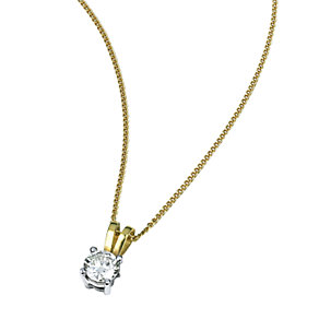18ct two-colour gold half carat diamond pendant - Product number 3892212