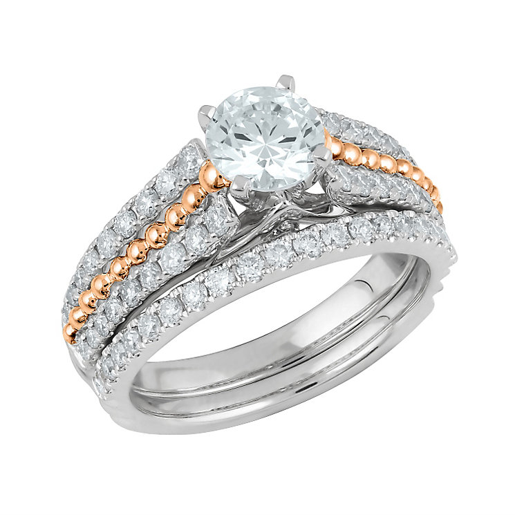 Angel Sanchez 18ct white rose gold 1.50ct diamond bridal set