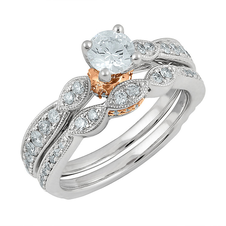 Angel Sanchez 18ct white rose gold 1.00ct diamond bridal set
