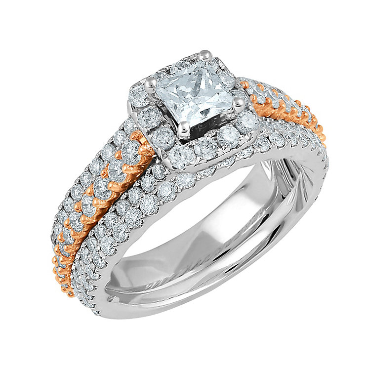 Angel Sanchez 18ct white & rose gold 2ct diamond bridal set - Product number 3901777