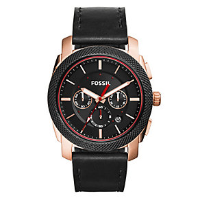 Fossil Men's Round Black Dial Black Leather Strap Watch - Product number 3903656