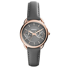 Fossil Ladies' Round Grey Dial Grey Leather Strap Watch - Product number 3903702