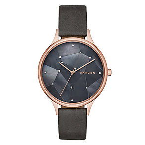 Skagen Ladies' Mother of Pearl Black Leather Strap Watch - Product number 3903710
