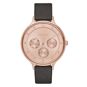 Skagen Ladies' Round Rose Dial Black Leather Strap Watch - Product number 3903729