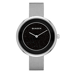 Skagen Ladies' Black Dial Stainless Steel Bracelet Watch - Product number 3903737