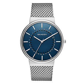 Skagen Men's Blue Dial Stainless Steel Mesh Bracelet Watch - Product number 3903753