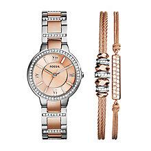 Fossil Virgina Ladies' rose gold tone watch bracelet set - Product number 3904253