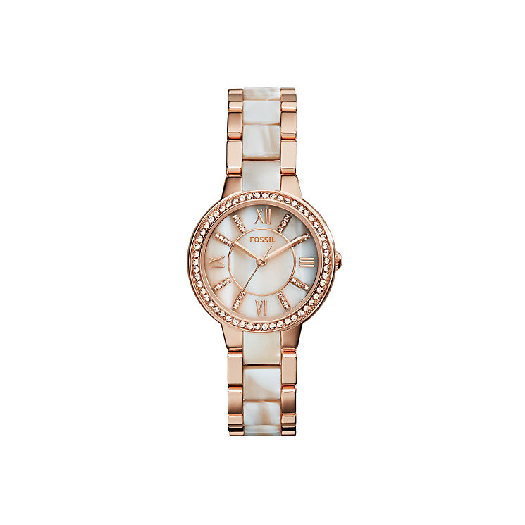 Fossil Virginia Ladies' Two Colour Stone Set Bracelet Watch - Product number 3904296