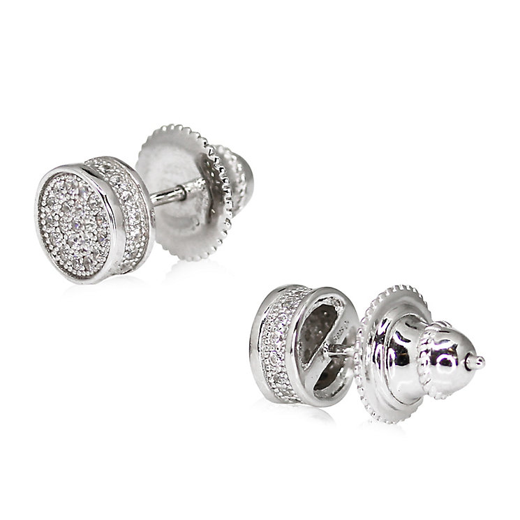 CARAT* Sterling Silver Pave Round Stud Earrings - Product number 3904903