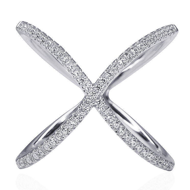 CARAT* Silver 'X' Micro Set Ring Size L - Product number 3905004