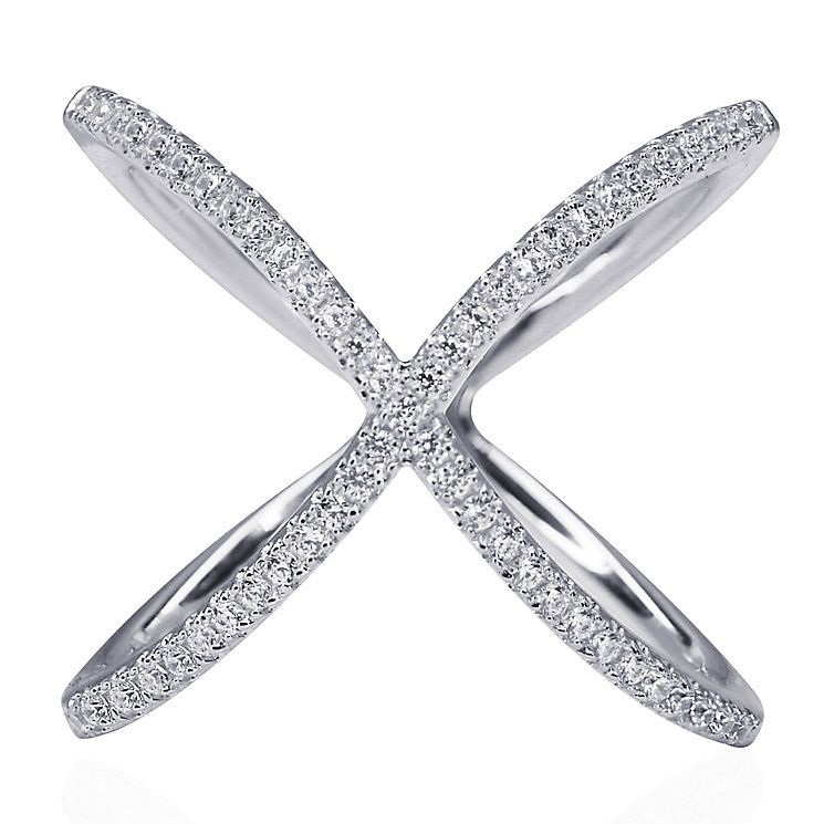 CARAT* Silver 'X' Micro Set Ring Size P - Product number 3905020