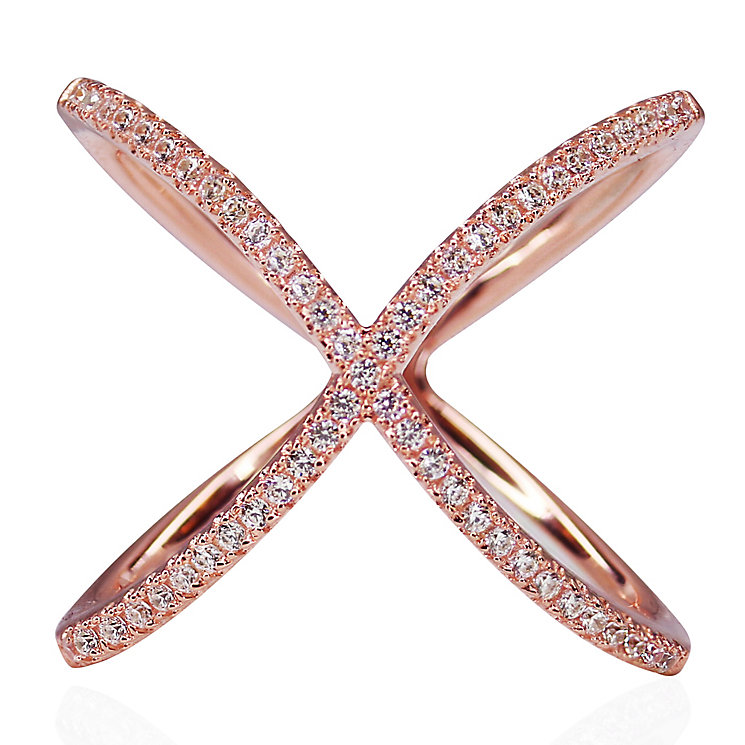 CARAT* Rose Gold-plated Silver 'X' Micro Set Ring Size L - Product number 3905039