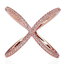 CARAT* Rose Gold-plated Silver 'X' Micro Set Ring Size N - Product number 3905047