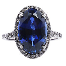 CARAT* 9ct White Gold & Blue Oval Stone Cut Ring Size M - Product number 3905640
