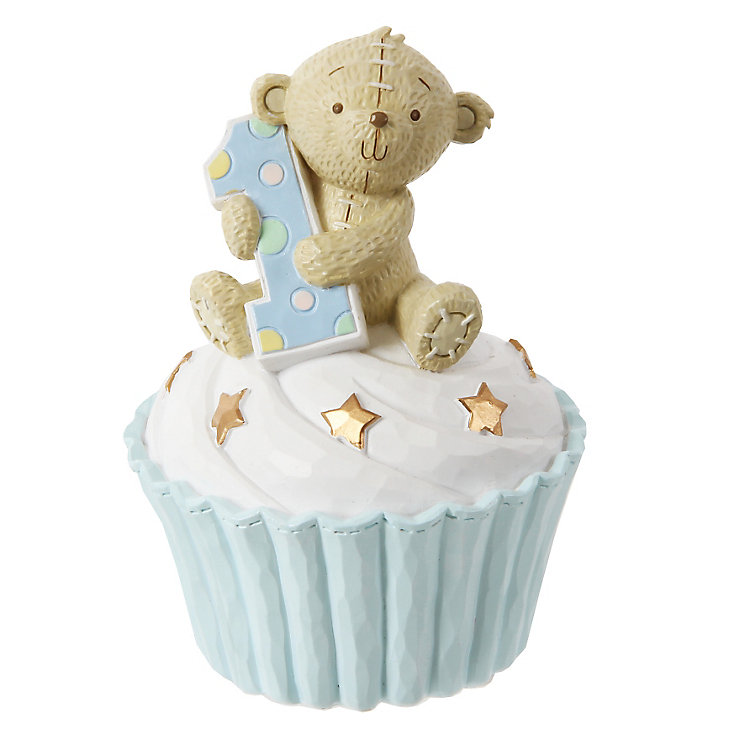 Button Corner 1st Birthday Blue Cupcake Money Bank - Product number 3906531