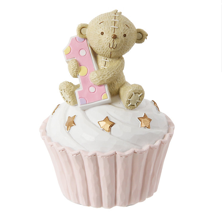Button Corner 1st Birthday Pink Cupcake Money Bank - Product number 3906574