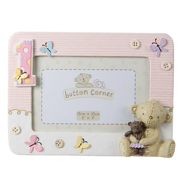 """Button Corner 1st Birthday Photo Frame Pink 6X4"""" - Product number 3906612"""