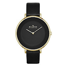 Skagen Ditte Ladies' Gold Tone Black Strap Watch - Product number 3906965