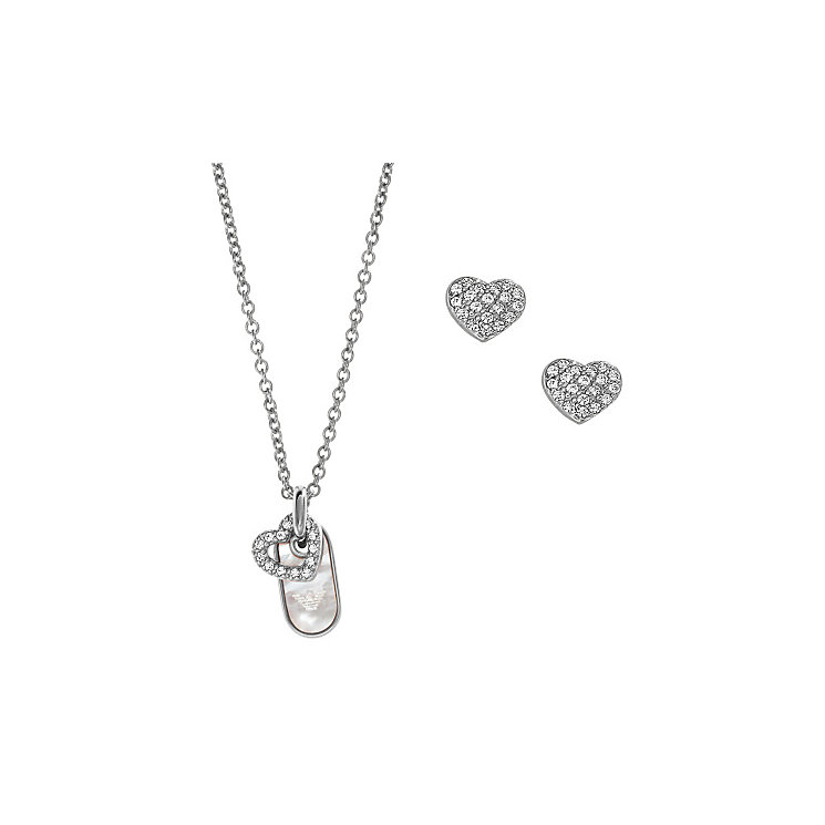 Emporio Armani Stainless Steel Earring & Necklace Gift Set - Product number 3907945