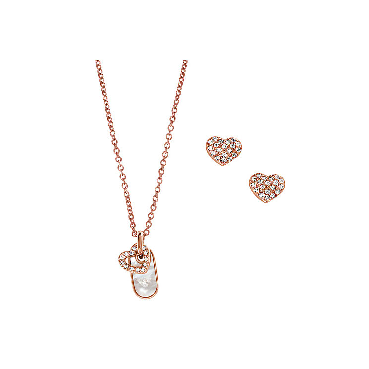 Emporio Armani Rose Gold-plated Earring & Necklace Gift Set - Product number 3907953