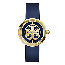Tory Burch Reva Ladies' Gold Tone Blue Leather Strap Watch - Product number 3908739