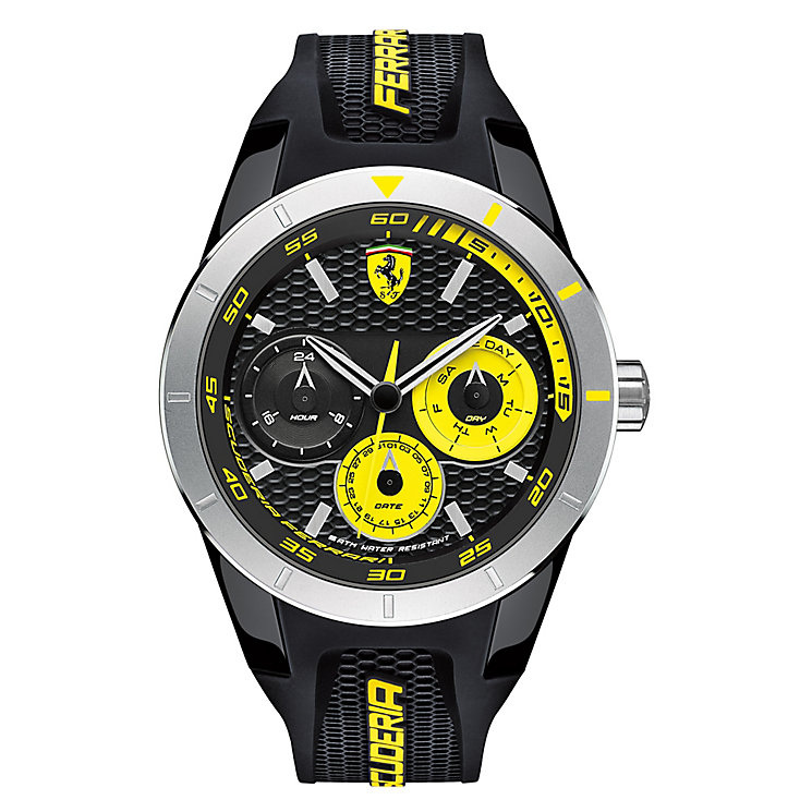 Ferrari Men's Yellow Chronograph Rubber Strap Watch - Product number 3908798