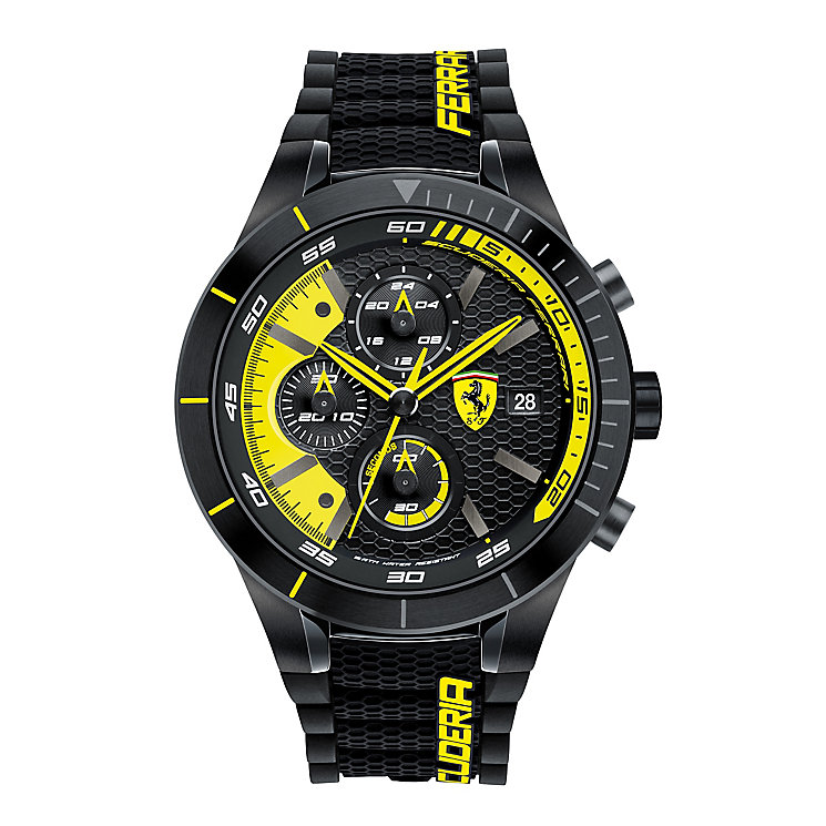 Ferrari Men's Yellow Chronograph Rubber Strap Watch - Product number 3908976
