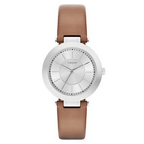 DKNY Ladies' Stainless Steel Brown Leather Strap Watch - Product number 3909212