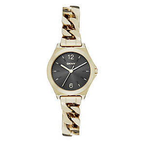 DKNY Parsons Ladies' Gold Plated Black Bracelet Watch - Product number 3910296