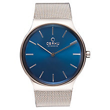Obaku Men's Blue Dial Stainless Steel Mesh Bracelet Watch - Product number 3925773