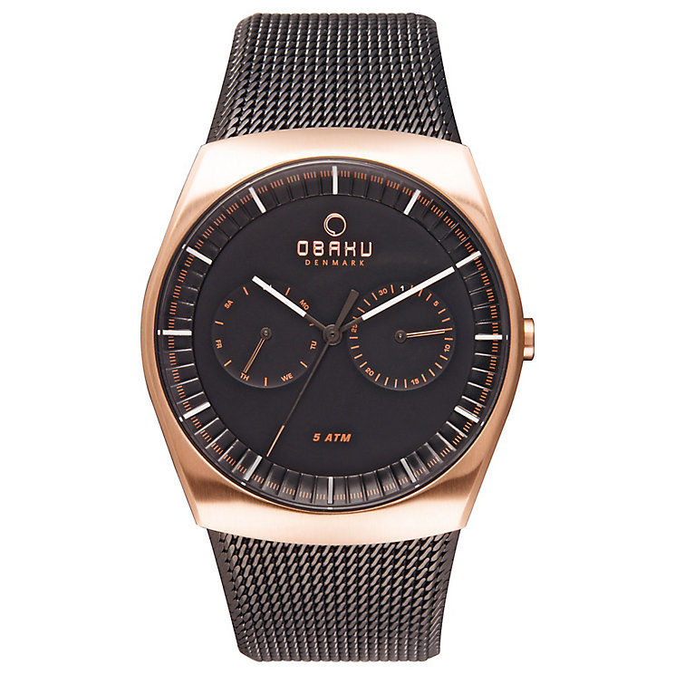 Obaku Men's Black Dial Black Ion-Plated Mesh Bracelet Watch - Product number 3925781