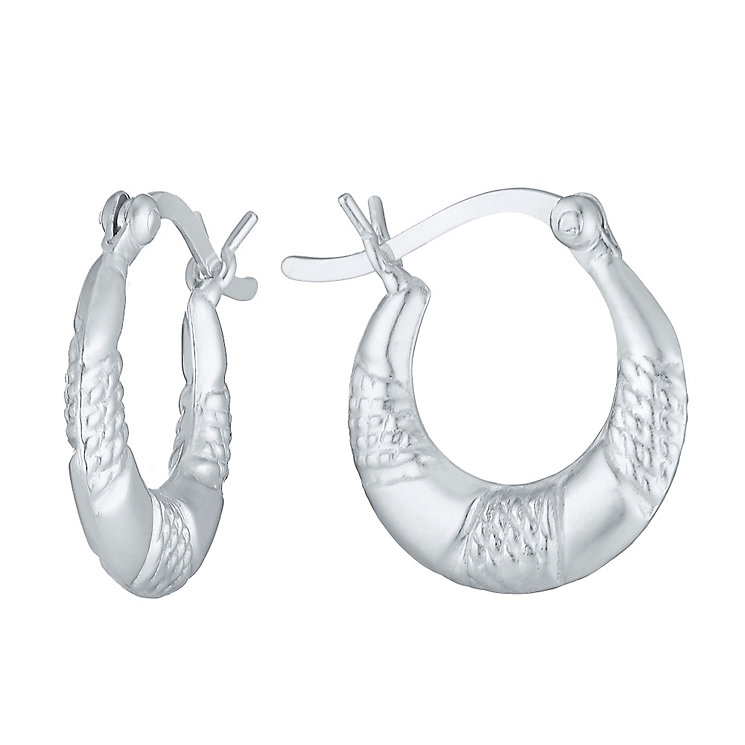 Sterling Silver Ribbed Creole Earrings - Product number 3926176