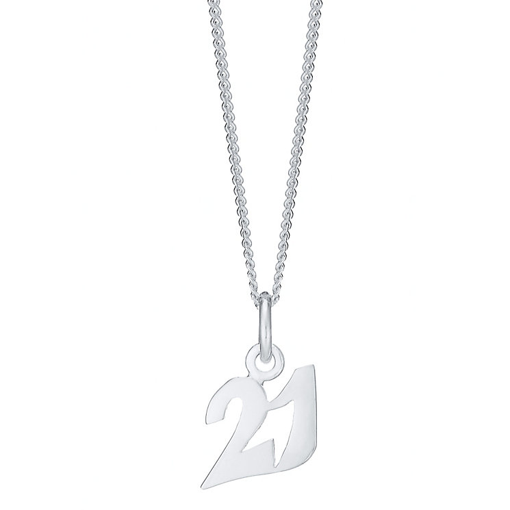 Sterling Silver '21' Pendant - Product number 3926559