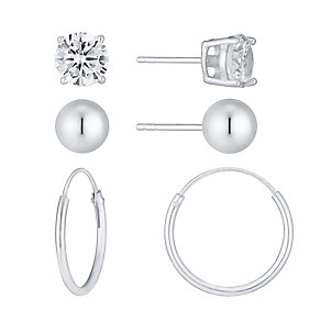 Sterling Silver Ball, Cubic Zirconia Stud & Hoop Earring Set - Product number 3926591
