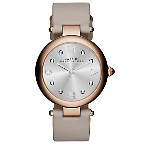 Marc Jacobs Ladies' Rose Gold Tone Silver Dial Strap Watch - Product number 3934136