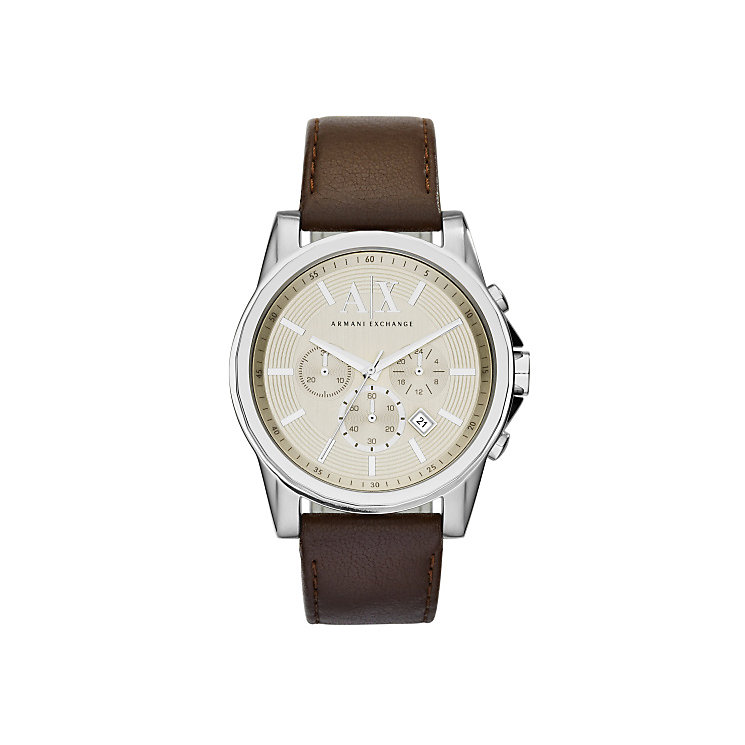 Armani Exchange Men's Silver Dial Brown Leather Strap - Product number 3936775