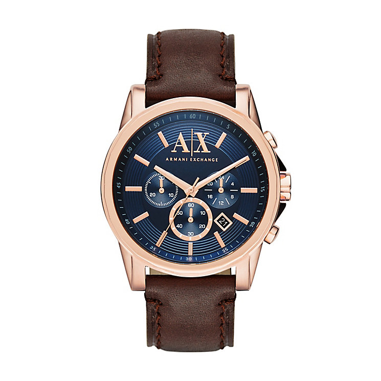 armani exchange watches uk men s ladies h samuel armani exchange men s blue dial brown leather strap watch product number 3936783