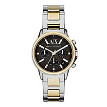 Armani Exchange Ladies' Black Dial Two Tone Bracelet Watch - Product number 3936880