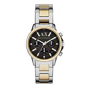 Armani Exchange Ladies' Black Dial Two Tone Bracelet Watch - Product number 3936880