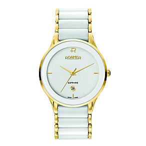 Roamer Ceraline Men's White Ceramic and Gold Plated Watch - Product number 3936902