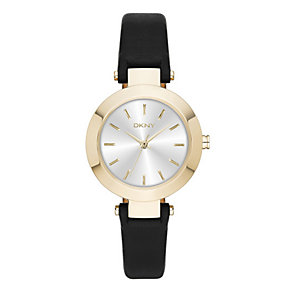 DKNY Ladies' Round White Dial Black Leather Strap Watch - Product number 3942635